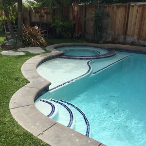 the pool is nestled into the corner of the yard and has a jacuzzi and a little baja shelf. What could be more perfect?