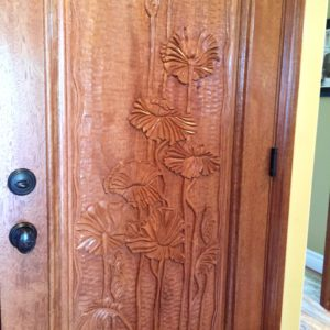 custom carved garage door