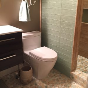 upstairs bathroom. they chose a seafoam green for the shower wall that perfectly compliments the mosaic tile floor