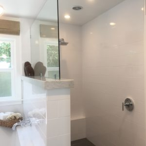 master bath walk in shower. so smart to put the controls out at the front!