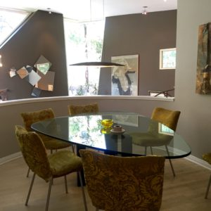 dining room that overlooks the best features of the living room as well